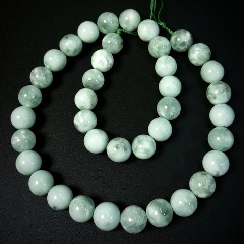 Бусины ангелит зеленый АА шар гладкий 10 мм 19 бусин