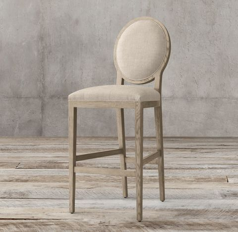 French Contemporary Round Fabric Stool