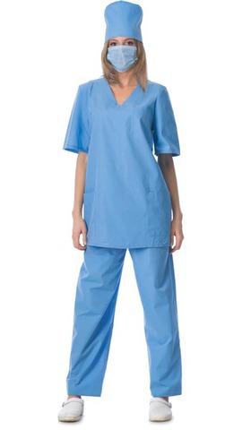 Костюм хирурга универсальный блуза, брюки голубой