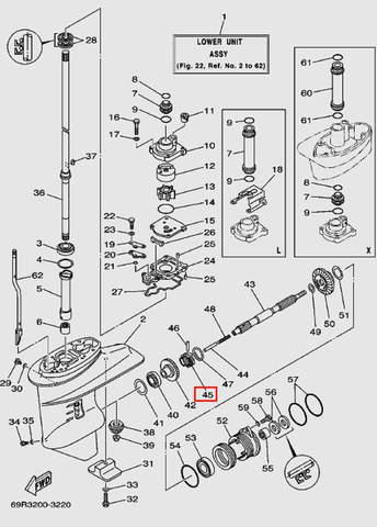Муфта переключения передач для лодочного мотора Т30 Sea-PRO (17-45)