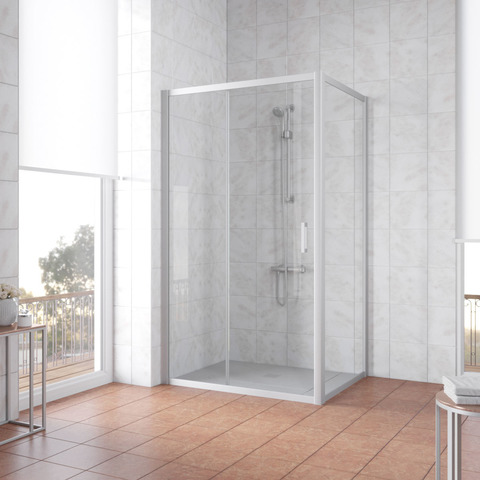 Душевой уголок Vegas Glass ZP+ZPV профиль матовый хром, стекло прозрачное