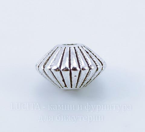 """Бусина металлическая - биконус """"Гофрированный"""" 8х5 мм (цвет - античное серебро), 10 штук"""