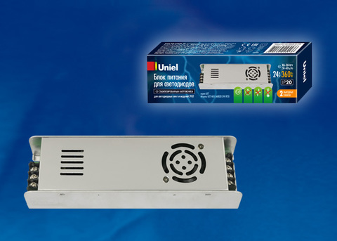 UET-VAS-360B20 24V IP20 Блок питания, 360Вт. Металлический корпус. TM Uniel