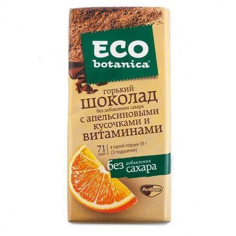 """Шоколад """"Eco Botanica"""" горький без добавления сахара с апельсиновыми кусочками, 90 г"""