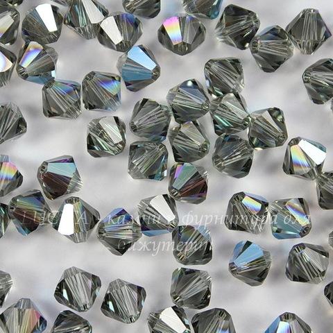 5328 Бусина - биконус Сваровски Black Diamond Shimmer 6 мм, 5 штук