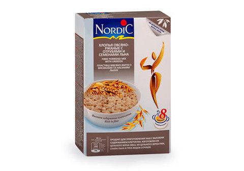 Хлопья Nordic овсяно-ржаные с отрубями и семенами льна, 600г