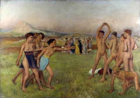 Эдгар Дега. 1860. Спартанские девушки вызывают на состязание спартанских мальчиков (Young Spartans Exercising). 109.5 х 155. Холст, масло. Лондон, Национальная галерея.