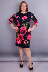 Арина француз принт. Нарядное платье больших размеров. Цветок синий.