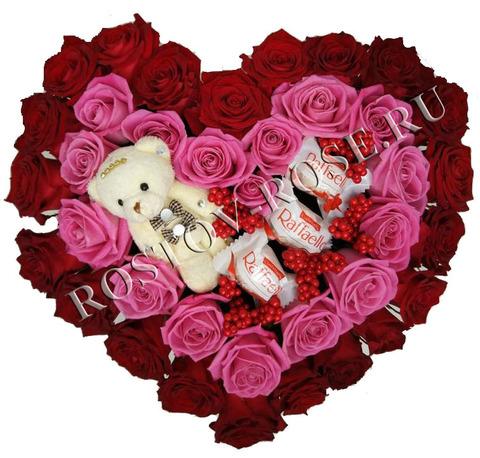 Букет-композиция в виде сердца - Амур