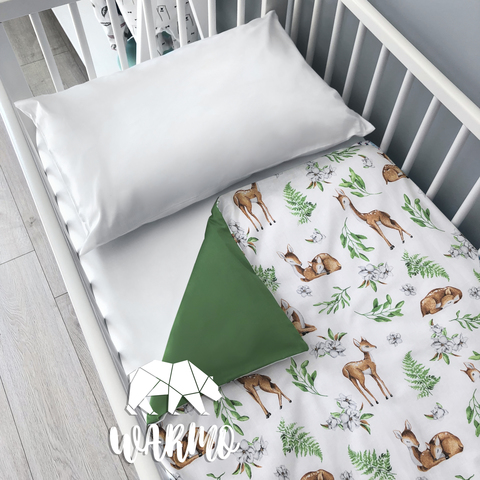 Підодіяльник дитячий 110 на 140 см з зеленими оленями фото