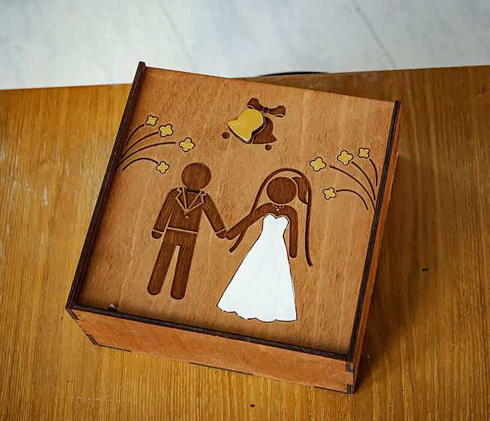 BOX251-2 Коробка для подарка на свадьбу из дерева (17*17*7 см) фото 03
