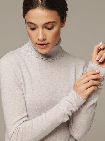 Женский серый джемпер с высоким горлом из 100% кашемира - фото 4