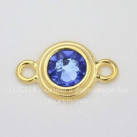 "Коннектор TierraCast со стразом ""Sapphire"" (1-1) 19х12 мм (цвет-золото)"