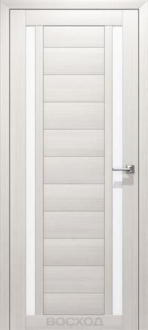 Дверь Восход Гамма, стекло сатин, цвет лиственница снежная, остекленная