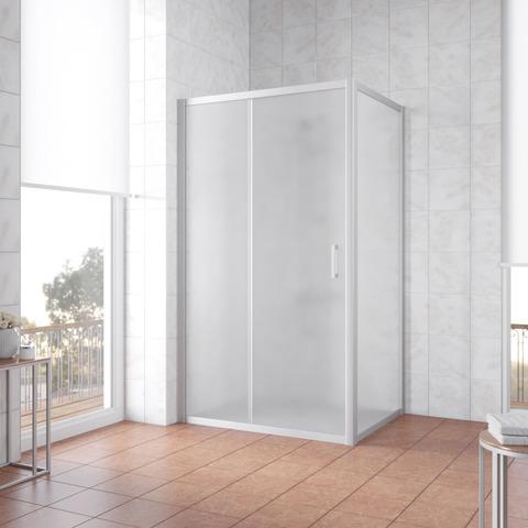 Душевой уголок Vegas Glass ZP+ZPV профиль матовый хром, стекло сатин