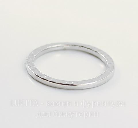 "Коннектор - кольцо TierraCast ""Hammertone"" 25 мм (цвет-платина)"