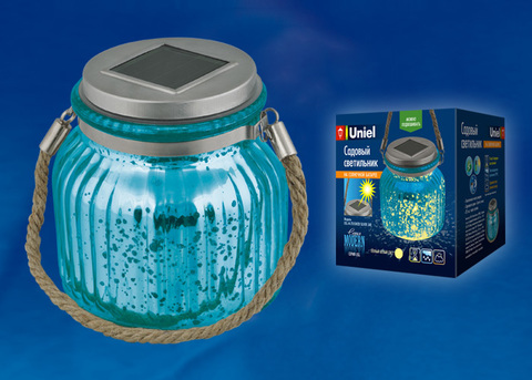 USL-M-210/GN120 BLUE JAR Садовый светильник на солнечной батарее. Теплый белый свет. 1*АА Ni-Mh аккумулятор в/к. IP44. TM Uniel.