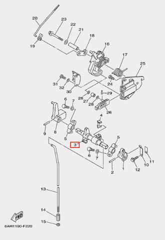 Вал п-п для лодочного мотора F20 Sea-PRO (18-3)
