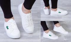 """Обувь женская 2502 Кеды """"6808 - Лакост"""" Белые"""