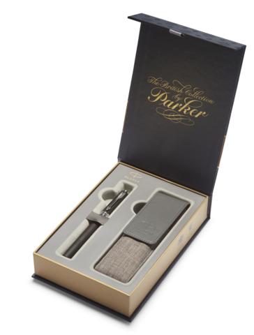 Подарочный набор: Чехол под ручку и  Ручка-5й пишущий узел Parker Ingenuity L F501, цвет: Black Rubber & Metal CT123