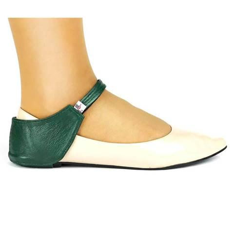 Автопятка из натуральной кожи для женской обуви без каблука зеленая