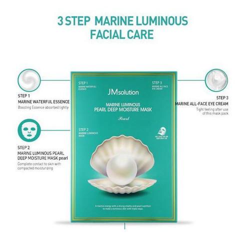 Трёхшаговая тканевая маска-комплекс с жемчугом, 27 мл + 1.5 мл + 1.5 мл / JMsolution Marine Luminous Pearl Deep Moisture Mask