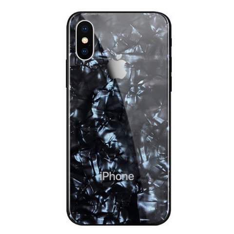 Чехол iPhone XS MAX Glass Marble Case Logo /black/