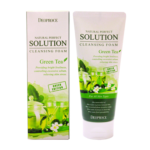 DEOPROCE Natural Perfect Solution Cleansing Foam Green Tea 170ml