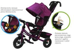 Детский трёхколёсный велосипед с ручкой ( оранжевый ) Sweet baby - колёса надувные