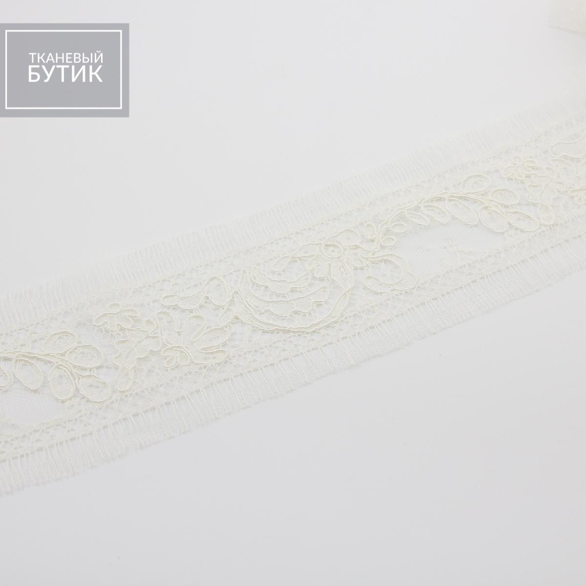 Французское кордовое кружево цвета экрю в ленте с мережкой