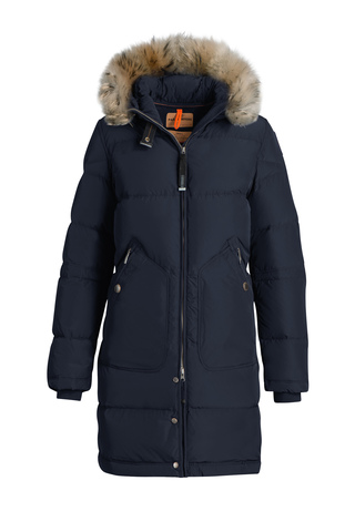 Пальто жен Parajumpers LIGHT LONG 560 синее, капюшон енот