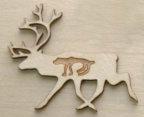 Магнит на холодильник из дерева Северный олень