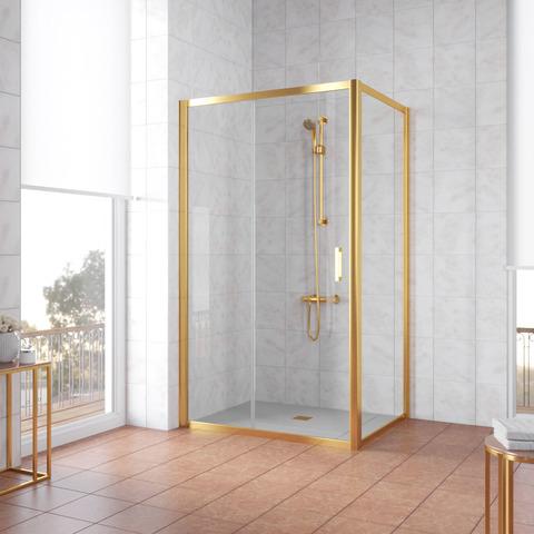 Душевой уголок Vegas Glass ZP+ZPV профиль золото, стекло прозрачное