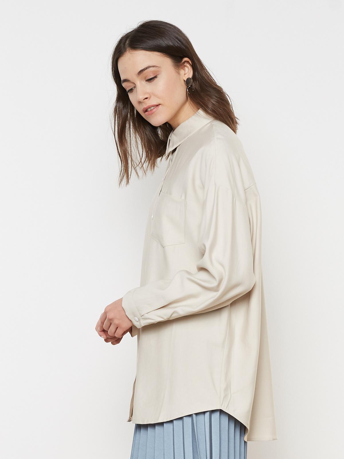 Рубашка удлиненная с карманом