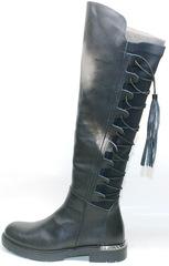 Сапоги женские кожаные на низком каблуке Flamingo-30 01siyah