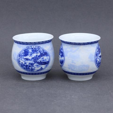 Термо-стакан с синим рисунком, фарфор, 70мл