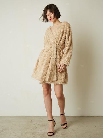 Платье-жакет на поясе травка беж (244114)