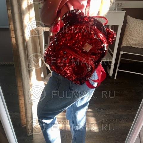 Рюкзак красный с ушами с пайетками меняющий цвет Красный-Серебристый Звезда
