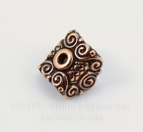 """Шапочка для плоской бусины или кулона TierraCast """"Мираж"""" (цвет-античная медь) 9х8х6 мм"""