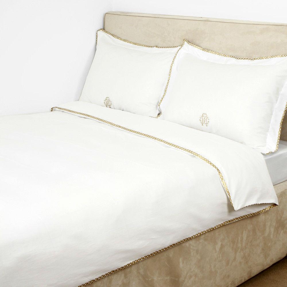 Постельное белье 2 спальное евро макси Roberto Cavalli Gold белое
