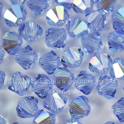5328 Бусина - биконус Сваровски Light Sapphire Shimmer 6 мм, 5 штук