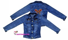 AD8660 куртка джинсовая цветок 2