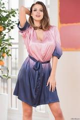 Халат женский шелковый розовый MIA Amore  SELENA СЕЛЕНА 3393