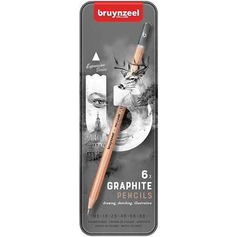 Набор карандашей для графики Bruynzeel Expression 6 типов жесткости в металл. кор.
