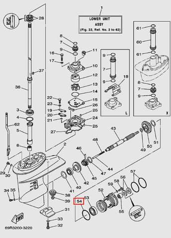 Кольцо уплотнительное стакана редуктора 4*68.5 для лодочного мотора Т30 Sea-PRO (17-54)