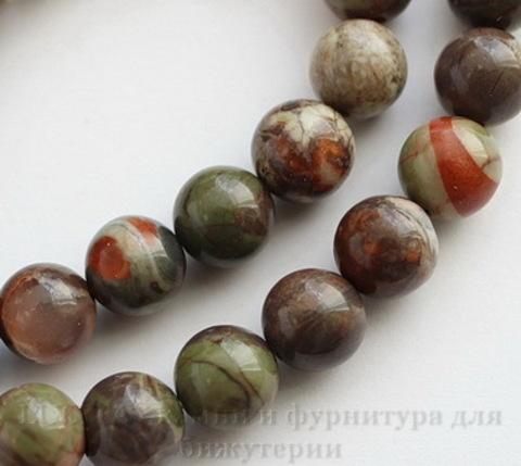 """Бусина Яшма """"Океаническая"""" (тониров), шарик, 8 мм, нить"""