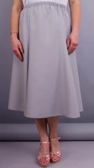 Тереза. Габардиновая юбка плюс сайз. Серый.