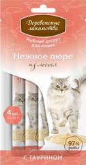 Деревенские лакомства Рыбный десерт для кошек пюре из лосося 40гр