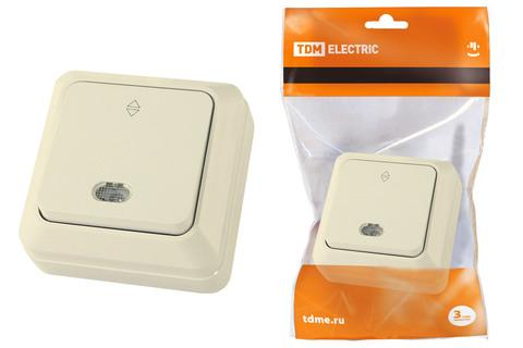 Переключатель на 2 направления 1-кл открытой установки с подсветкой IP20 10А, сл. кость