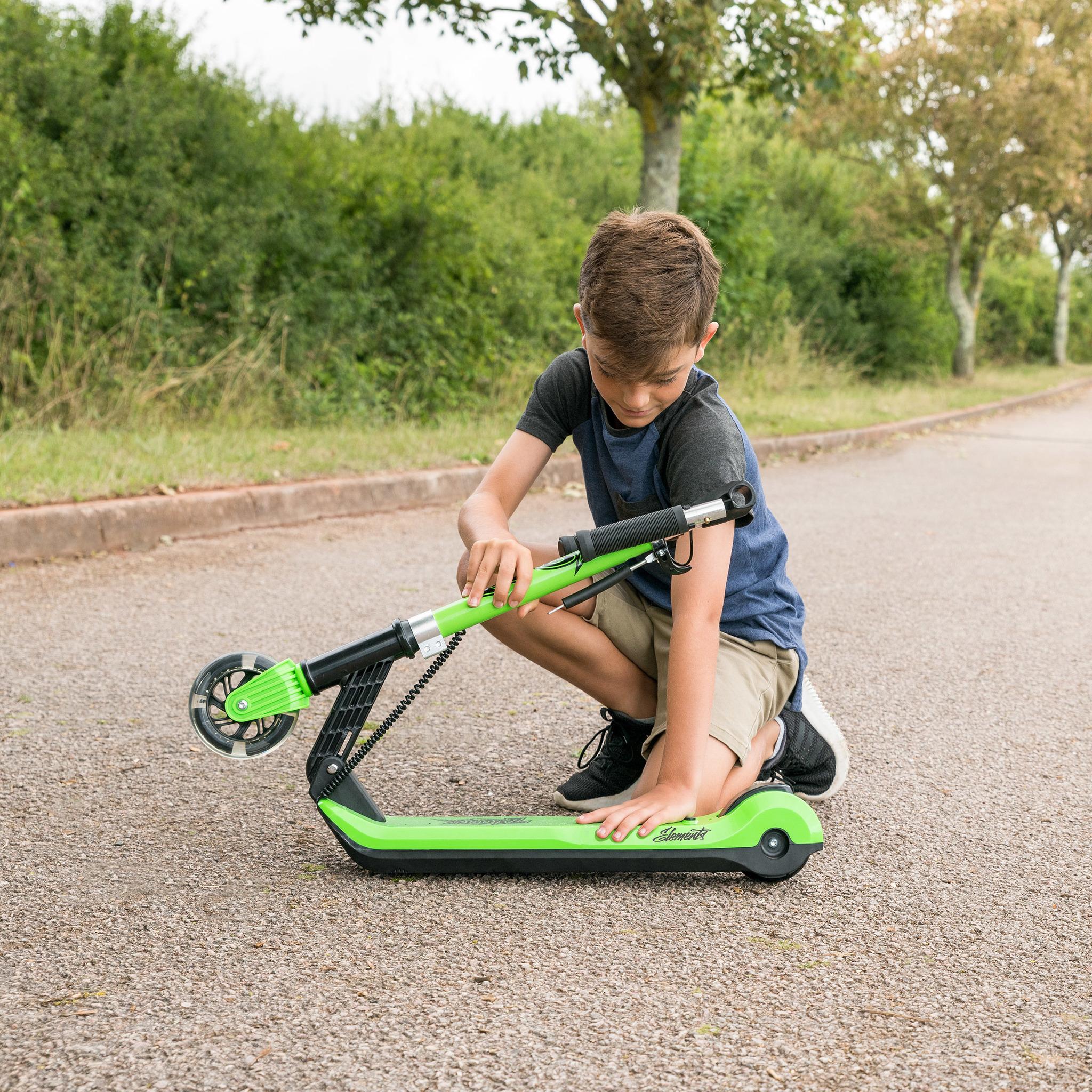 Электросамокат Xootz Kids Elements, светящиеся колеса, зеленый